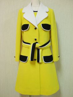 Lilli Ann Yellow Knit Dress Set with Black and White Piping, 1960.
