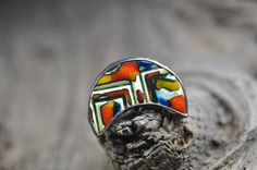 Ceramic ring big adjustable ring  tiffany method  boho by zolanna