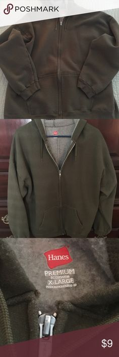 Hanes Ecosmart Men's Hoodie Men's Hanes Ecosmart hoodie size XL in olive green with grey fleece interior; two front angle pockets with zipper front Hanes Jackets & Coats