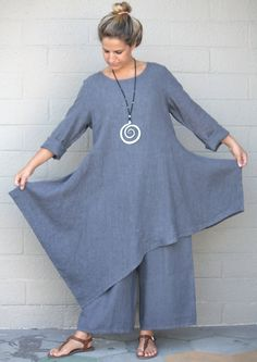 BRYN WALKER Flax HEAVY-weight Linen NADA TUNIC Dress Top XL (XL/1X) PEONY