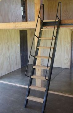 Project Live In Mezzanine Workshop Ships Ladder On Rollers Made Loft Escalier De Loft Space Saving Staircase, Loft Staircase, Attic Stairs, House Stairs, Staircase Design, Staircase Ideas, Hallway Ideas, Stair Design, Stairs To Loft