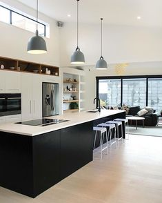 27 inspiring modern luxury kitchen design ideas 12 ⋆ All About Home Decor Minimal Kitchen Design, Luxury Kitchen Design, Kitchen Room Design, Home Decor Kitchen, Interior Design Living Room, Home Kitchens, Kitchen Ideas, Kitchen Designs, Kitchen Colors