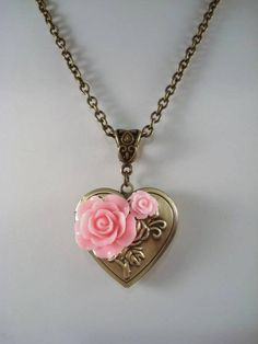 Heart Locket Pink Rose Locket Necklace Pink Rose Jewelry Heart