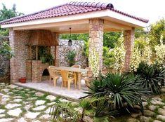 The construction of summer kitchens in the country Backyard Gazebo, Garden Deco, Summer Kitchen, Outdoor Kitchen Design, Interior Inspiration, Beautiful Homes, 1, Construction, Outdoor Structures