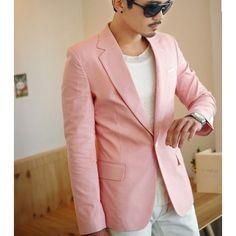 Blazer pour Homme Veste de Costume Rose Pâle