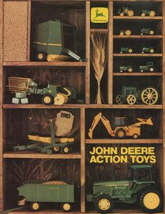 John Deere Garden Tractors, Old Tractors, John Deere Equipment, Heavy Equipment, Toy Display, Farm Toys, Childhood Toys, Displaying Collections, Inspirational Gifts