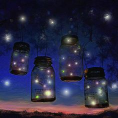 fireflies and mason jars on a summer night relaxing art for the beach cottage