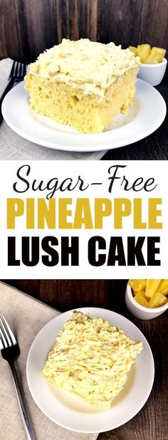 Sugar-Free Pineapple Lush Cake. This is a yummy recipe for a sugar-free dessert that's easy to make and has only a few ingredients! Perfect for diabetics! #recipe #glutenfree  #healthyliving #cakerecipe