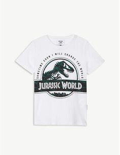 SOMETIME SOON T-rex print cotton T-shirt 4-14 years Jurassic World T Rex, Organic Cotton T Shirts, Dinosaurs, Printed Cotton, Boy Outfits, Vintage Fashion, Logo, Mens Tops, Style