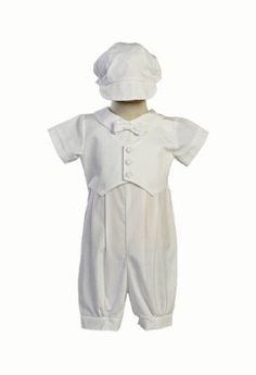 Boy`s Poly Cotton Christening Baptism Romper with Pique Vest $38.95