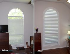 Den before and after plantation shutters from Austin Window Fashions