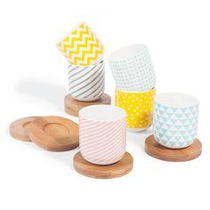 6er-Set Kaffeetassen COPENHAGEN aus Porzellan mit Untertassen