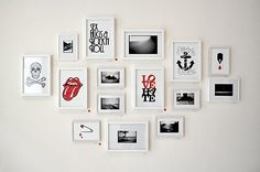 Groovy Frame wall collage display using white photo frames
