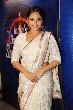 #Sonakshi, is wearing a white ensemble. A beautiful off white #saree and a silk blouse, which makes the talented #actress, look like the #princess, she is Recently she performed at the #IFFA in #Madrid, she danced to songs, picturised on #Sridevi. One of them was 'mein to shehzadi…hawa hawai…' We love you at #Shatika!! And keep loving #sarees!!  Know more at: www.shatika.co.in  #Shatikamonsoonsale