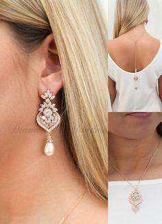 Chandelier Wedding Earrings,rose gold Crystal Bridal Earrings,Vintage style,Statement Bridal earrings necklace bracelet,Wedding jewelry-LILY