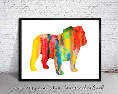 English Bulldog Watercolor Print Children's Wall by WatercolorBook