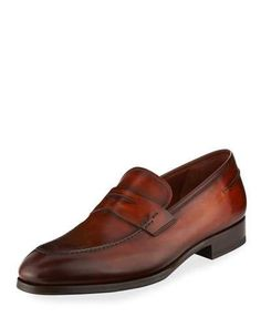 online store 74188 f08c7 Magnanni For Neiman Marcus Smooth Leather Penny Loafer Loafer Shoes,  Loafers Men, Penny Loafers