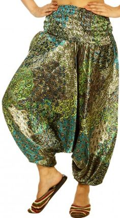 Blue and Light-Green Harem Trousers with Printed Flowers