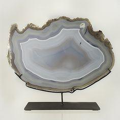 Anna Casa Interiors - Slice of Grey Agathe with Iron Base by Anna Casa