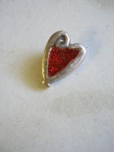 Art Deco Look Fine Silver Heart Art Charm by janislogsdongems, $19.50
