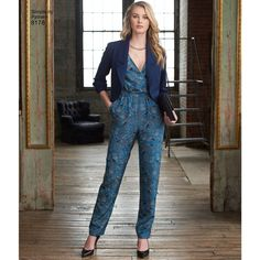 Simplicity - S8178 Misses' Jumpsuit with two leg widths, Dress & Jacket - WeaverDee.com Sewing & Crafts - 1
