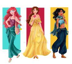 Ariel, Belle y Jasmine