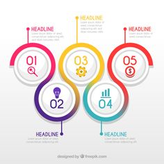 Colorful diagram with idea and circles free vector project colourful infographic steps free vector ccuart Choice Image