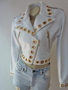 RARE Gorgeous Vintage Michael Hoban of North Beach Leather 1980s Motorcycle White Leather Zipper Jacket Small - http://www.gezn.com/rare-gorgeous-vintage-michael-hoban-of-north-beach-leather-1980s-motorcycle-white-leather-zipper-jacket-small.html