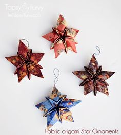 Fabric Origami Christmas Star Ornaments with video tutorial.these are so cute Origami ist die Kunst Origami Christmas Ornament, Origami Ornaments, Quilted Christmas Ornaments, Christmas Sewing, Christmas Fabric, Noel Christmas, Handmade Christmas, Star Ornament, Origami Fashion