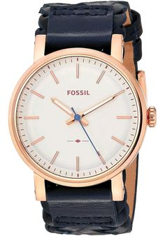 Fossil Women's Original Boyfriend Sport Three-Hand Navy Leather Watch Timex Watches, Fossil Watches, Boyfriend Watch, Casual Watches, Sport Watches, Stainless Steel Bracelet, Quartz Watch, Lady, Leather