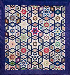 Paper template pieced silk quilt, Stars & Diamonds, 1852, made by Marina Jones Gregg. Charleston Museum
