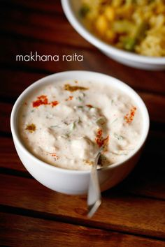 makhana raita recipe with step by step pics. spiced cooling raita made with phool makhana also known as fox nut or eurayle ferox. makhana are rich in nutrients like calcium, protein, carbohydrates, phosphorous, Indian Salads, North Indian Recipes, Indian Snacks, Indian Dishes, Indian Food Recipes, Asian Recipes, Unique Recipes, Raitha Recipes, Cooking Recipes