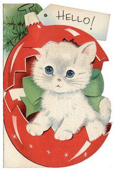 Christmas Kitty vintage greeting card