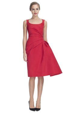 9b9e7f4a1bb Carolina Herrera Silk Faille Sleeveless Scoop Neck Dress Red Silk Dress