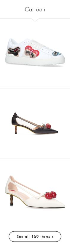"""""""Cartoon"""" by sollis ❤ liked on Polyvore featuring shoes, sneakers, valentino shoes, leather low tops, butterfly shoes, leather low top sneakers, low top, pumps, black multi and black strap shoes"""