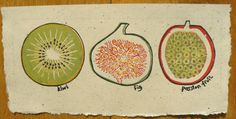 Kiwi Fig and Passion Fruit linocut print by StripedPebble on Etsy