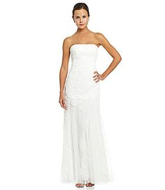 Adrianna Papell Strapless Embroidered Trumpet Gown #Dillards $300
