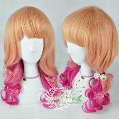 ● Su ● the Japanese Harajuku wind lolita McGinn pink two-tone color mixing gradient the long curls high temperature silk wig - Taobao