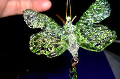 """CHRISTMAS ORNAMENT SPUN GLASS BUTTERFLY 2 3/4"""" BY 2 1/2"""" PALE GREEN Glass Ornaments, Christmas Ornaments, Glass Butterfly, Spinning, Diamond Earrings, Green, Jewelry, Hand Spinning, Jewlery"""