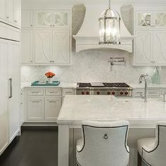 Off White Kitchen With French Range Hood, Transitional, Kitchen