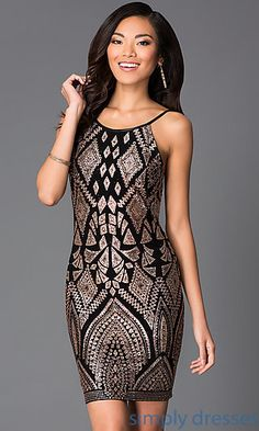 Spaghetti Strap Print Dress 48146 by Jump at SimplyDresses.com