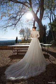 tarik ediz white 2015 garnet bateau neck long sleeve illusion bodice a line skirt back view train