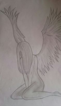 Fallen Angel Drawing With Pencil