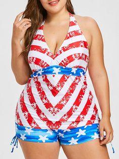 f324d144fa5 Plus Size US Flag Drawstring Tankini Set - US FLAG 3X Plus Size Cardigans,  Plus