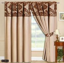 Half Flock with Plain Design Fully Lined Ready Made Pencil Pleat Curtains - Beige with Brown - RV Your Price: £19.99