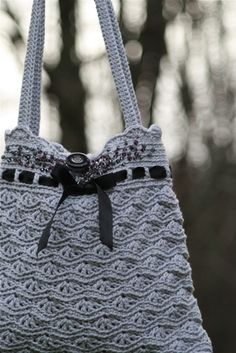 """New Cheap Bags. The location where building and construction meets style, beaded crochet is the act of using beads to decorate crocheted products. """"Crochet"""" is derived fro Crochet Motifs, Crochet Handbags, Crochet Purses, Love Crochet, Knit Or Crochet, Crochet Crafts, Crochet Projects, Crochet Patterns, Crochet Bags"""
