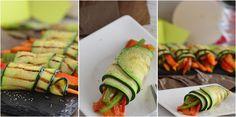 Rolls de calabacín y vegetales