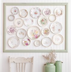 Create an elegant wall display with porcelain dishes, like Johanna Love inside Somerset Home.