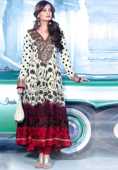 Cream #Georgette Chuddidar Kameez with Dupatta INR:-7590 With Exciting 25% Discount!