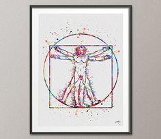 Vitruvian Man Leonardo Da Vinci Watercolor Print Human Anatomy